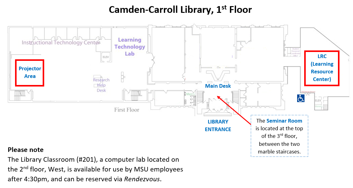 Library floor maps showing three reservable class spaces. Note: the 2nd floor computer lab, Library Classroom #201, can be reserved by MSU employees after 4:30pm via the campus scheduling system, Rendezvous.