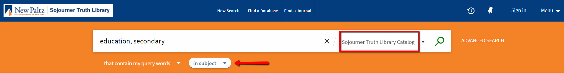 Screen Shot of Library Catalog Search