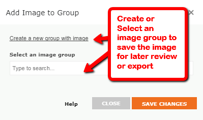 Screenshot of creating or adding to an image group