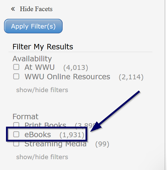 "Image shows where to locate an ebook format limiter to focus a search. This limiter is found under the ""Format"" filter."