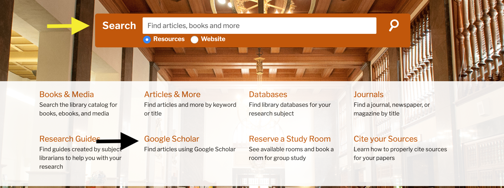 Screen shot of library homepage with arrows pointing at the main search bar and the Google Scholar link.