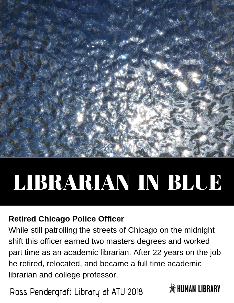librarian in blue book cover