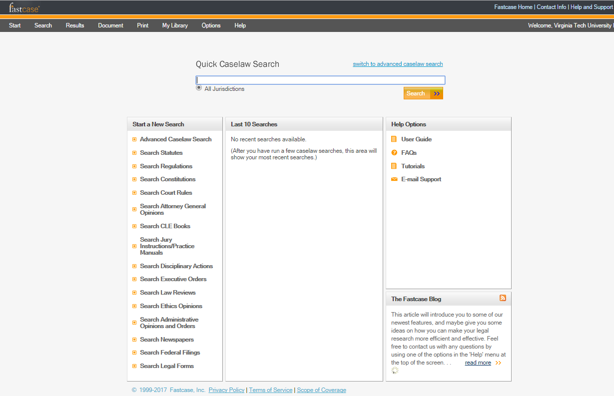 Screenshot of fastcase interface