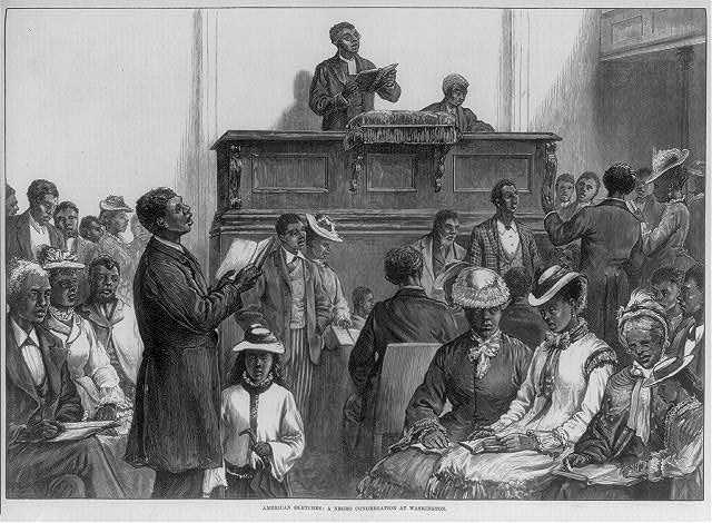 American sketches: A Negro congregation at Washington 1876