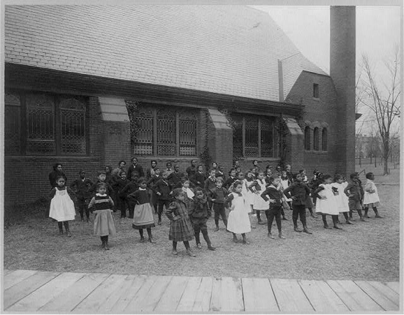 Howard Univ., Washington, D.C., ca. 1900 - elementary school students exercise.