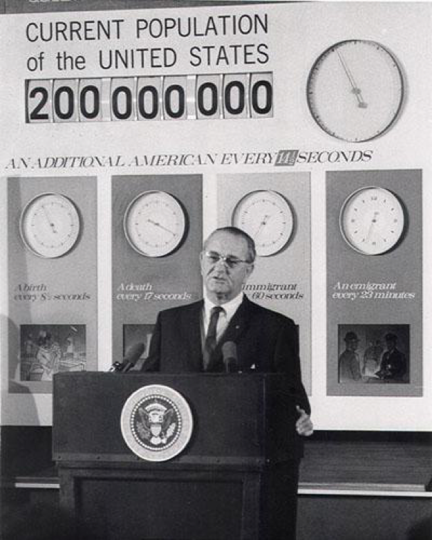 President Lyndon B. Johnson announced that the U.S. population reached 200 million