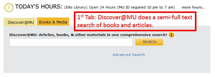 screen grab of Discover@MU tab which does a semi-full text search of books and articles