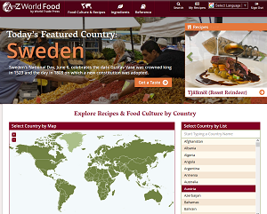 Homepage of A to Z World Food