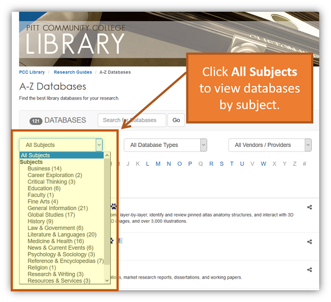 Click All Subjects to view databases by subject.