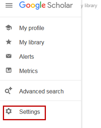 Google Scholar menu with settings option highlighted