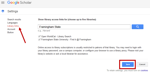 Google Scholar settings on library links page.