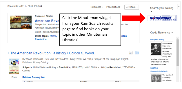 Screenshot with annotations showing the Mintueman Search Widget in the right hand column of the Ram Search results page.