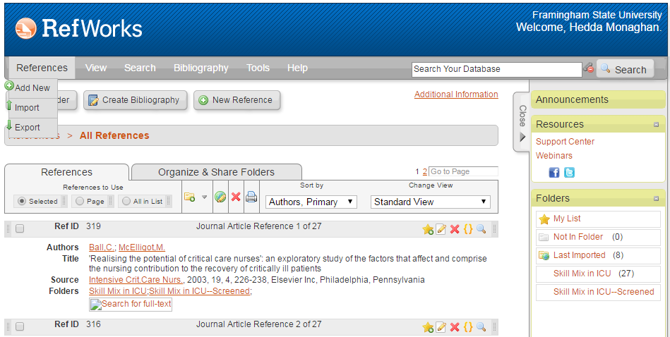 Screenshot of RefWorks showing the references drop-down menu.