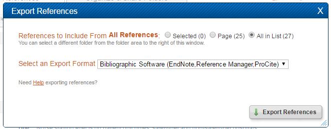 Screenshot of Export References menu in RefWorks.
