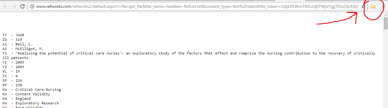 Screenshot of exported citations.