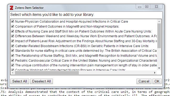 Screenshot of Zotero Item Selector.