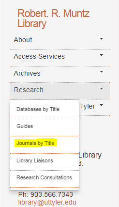 Screenshot showing the Journals by Title option under the Research drop-down menu