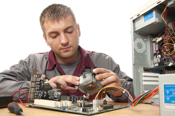 image of student working with electronics