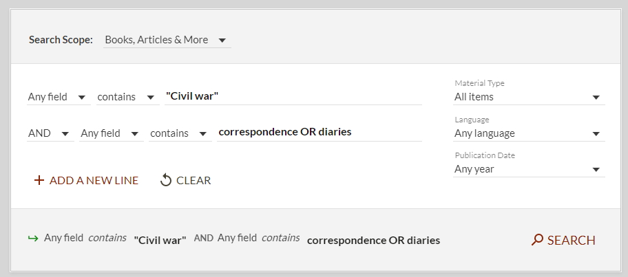 "advanced search in PSU library for ""Civil war"" and correspondence or diaries"