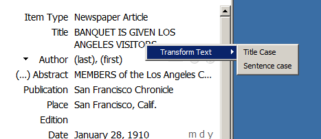 screen shot of transform text menu