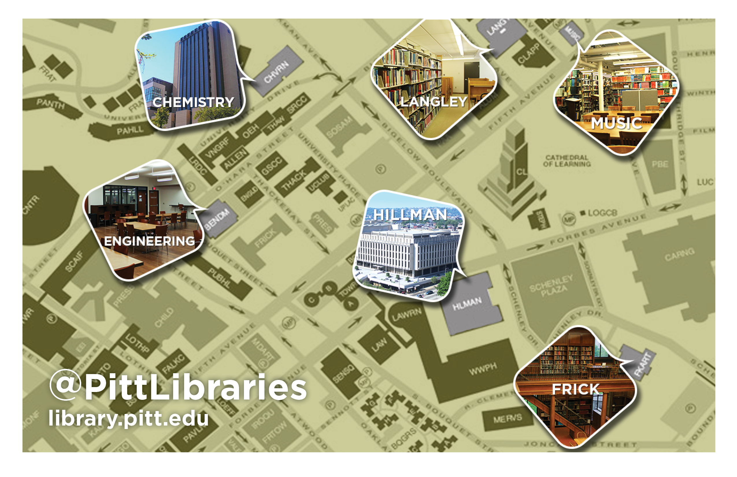 Image of Pitt libraries and their location on campus