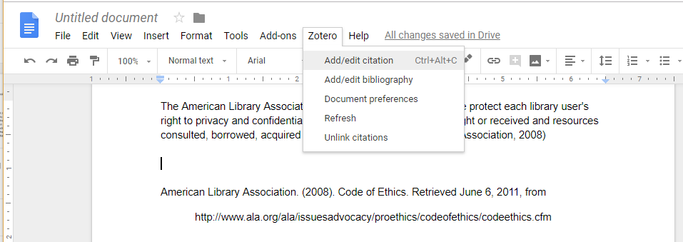Screenshot of Zotero menu in Google Docs