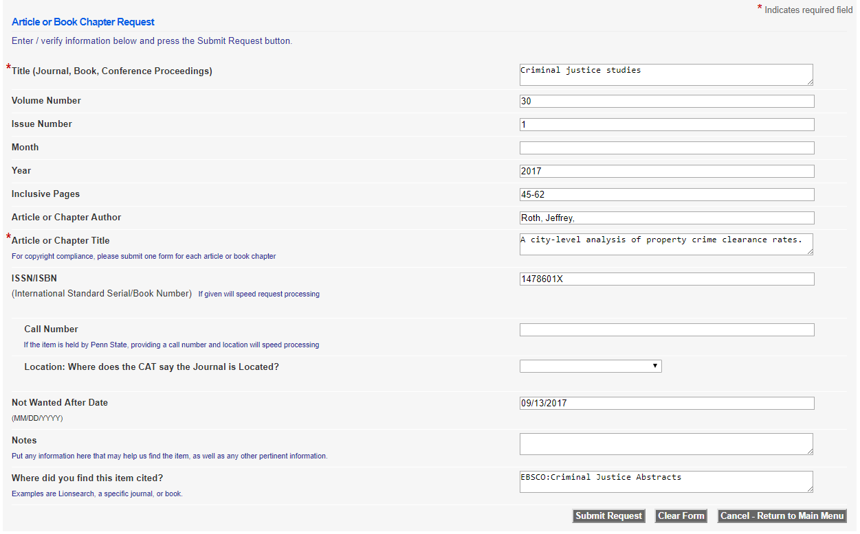 Sample form for InterLibrary Loan showing the various fields that are automatically filled out