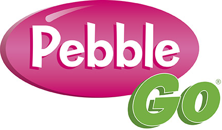 The PebbleGo logo with a direct link to the Spring Ridge Library's subscription. Pebble is in a pink oval and Go is in green text overlaid on top of the pink oval.