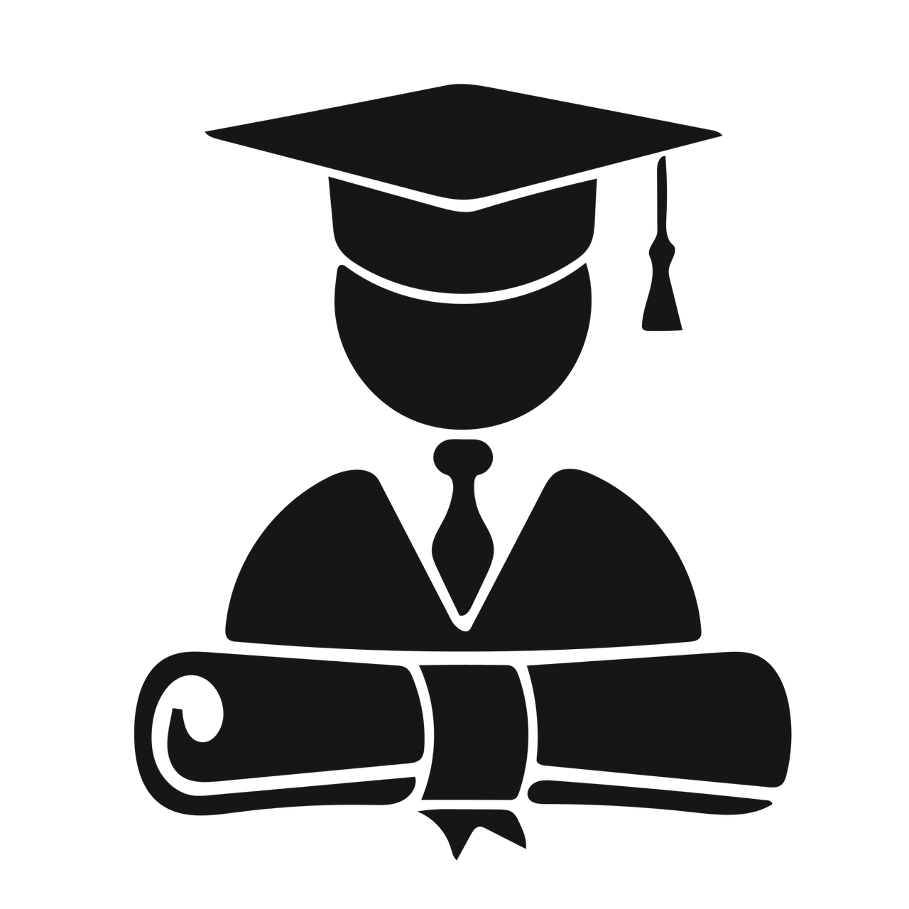 Blackand white silhouette of a non-gendered student with a graduation cap and diploma
