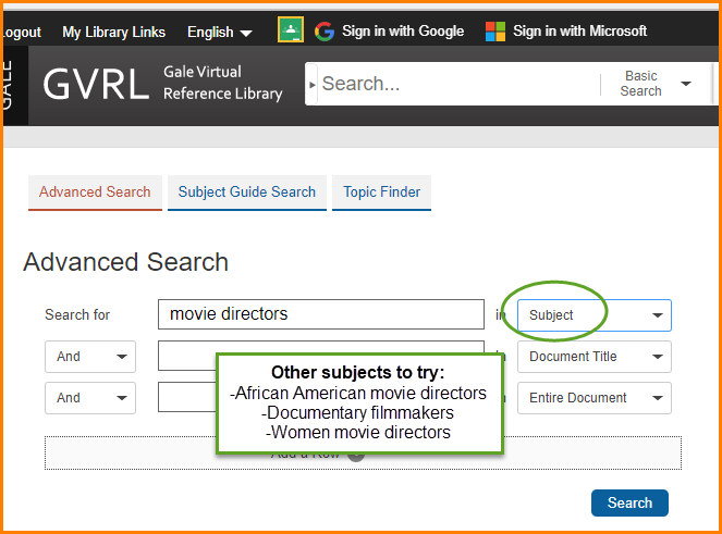how to search subjects for movie directors in gale