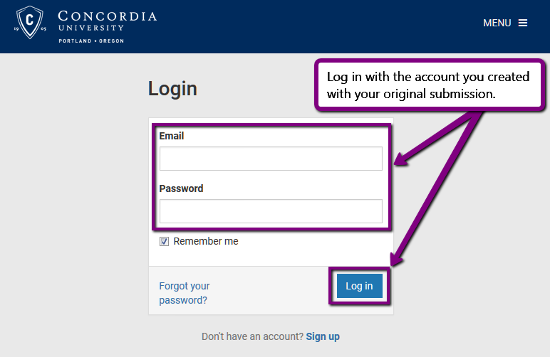 Screenshot. Text = Log in to the account you created with your original submission.