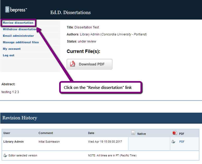 "Screenshot. Text = Click on the ""Revise dissertation"" link"