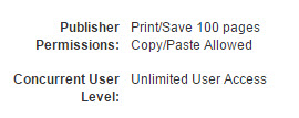 Publisher Permissions and Concurrent User information is in the ebook record.