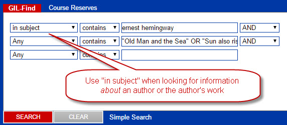 "Choose the ""in subject"" field in the advanced GIL Find search when looking for information about an author."
