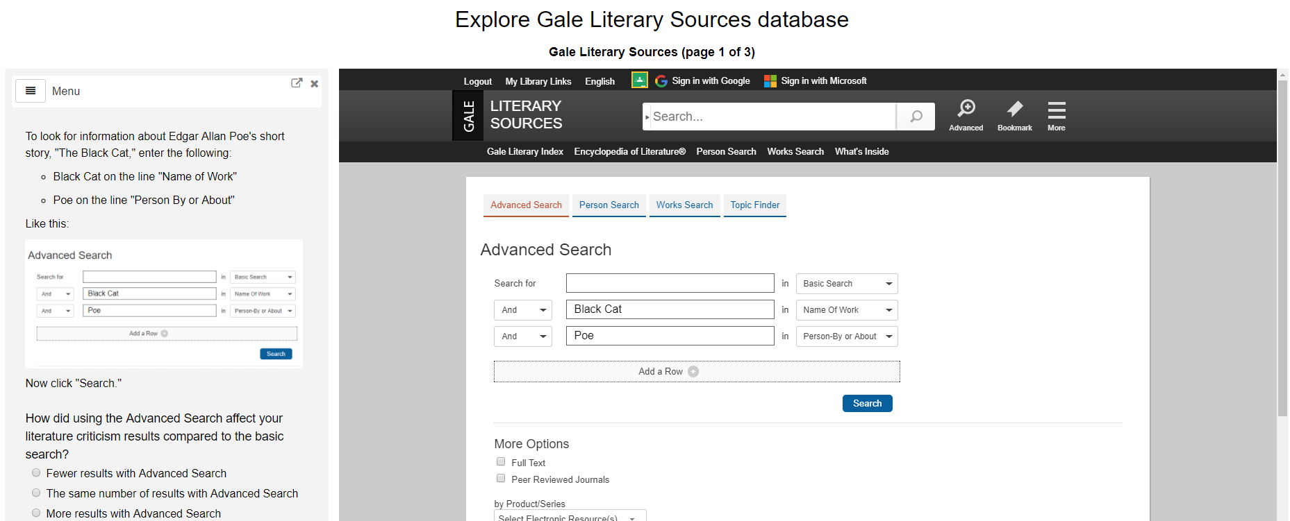 Screenshot from Gale Literary Sources tutorial