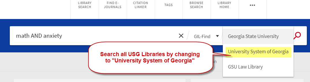Search all University System of Georgia Libraries by changing the scope of your search using the dropdown menu.
