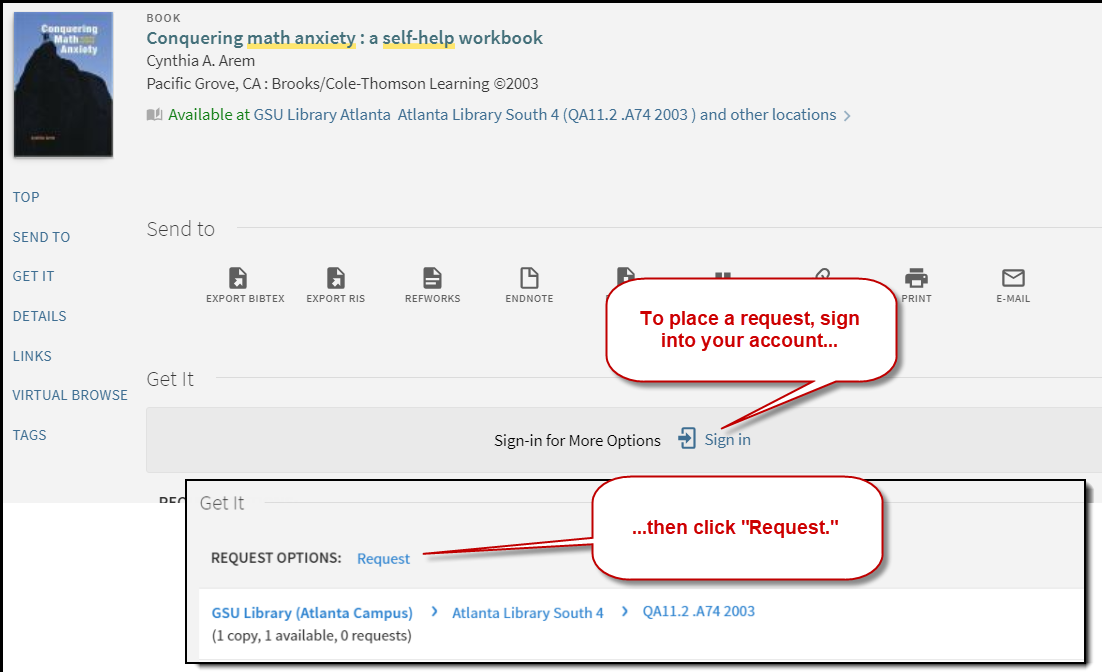 "To place a request, click ""sign in,"" then click ""Request."""