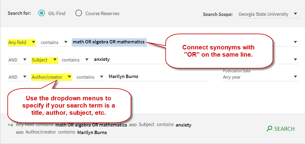 Advanced search options include dropdown boxes to specify the field you are searching. Connect synonyms with OR on the same line.
