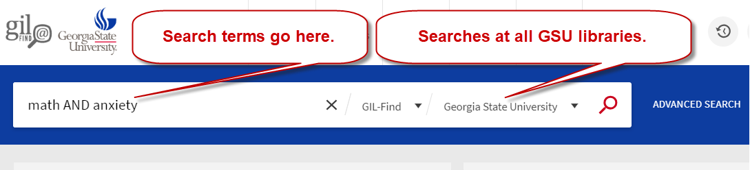 Enter search terms in GIL Find's basic search to look for items at all GSU libraries.