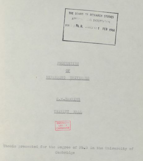 Image of the first page of Stephen Hawking's doctoral thesis.