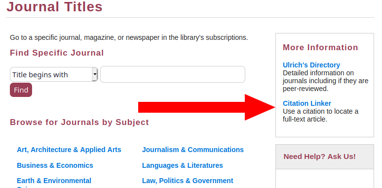 "Screenshot highlighting ""Citation linker"" link on journals page"