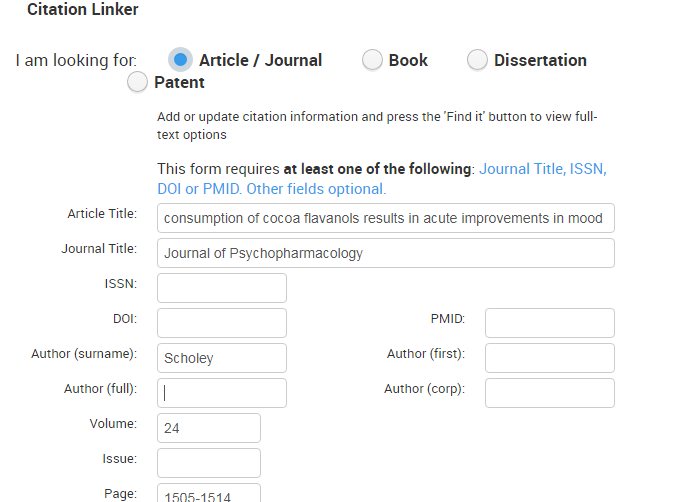 Screenshot of citation linker interface