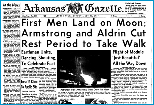 Arkansas Gazette July 21, 1969, Men land on Moon