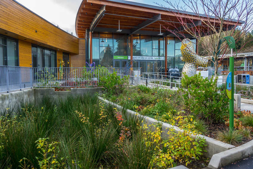 Storm water management project at visitor center building