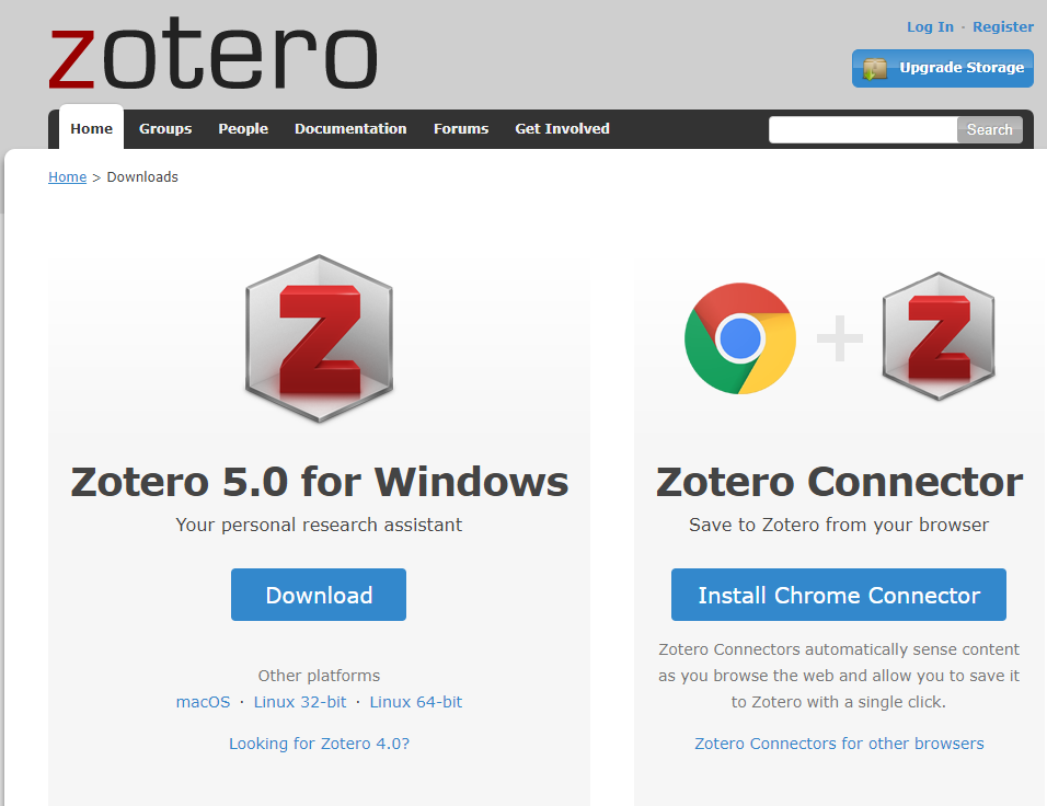 The Zotero download page, displaying the options to download Zotero and the browser connector.