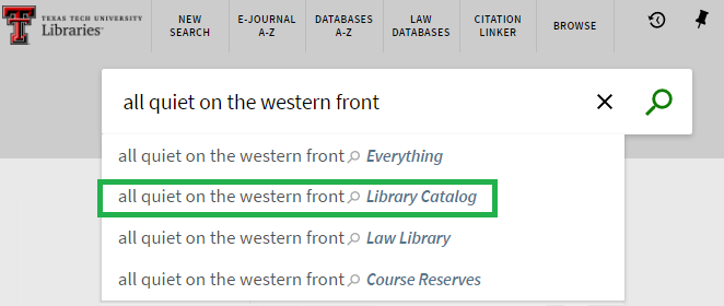 all quiet on the western front keyword search; Library Catalog highlighted