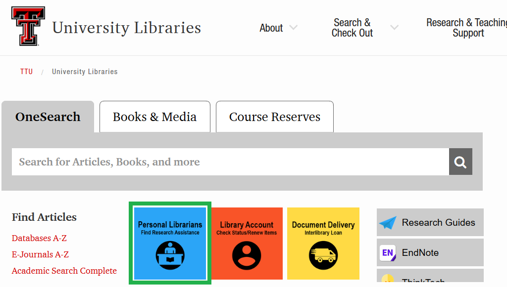 Screenshot of TTU Libraries home page with personal librarians icon highlighted
