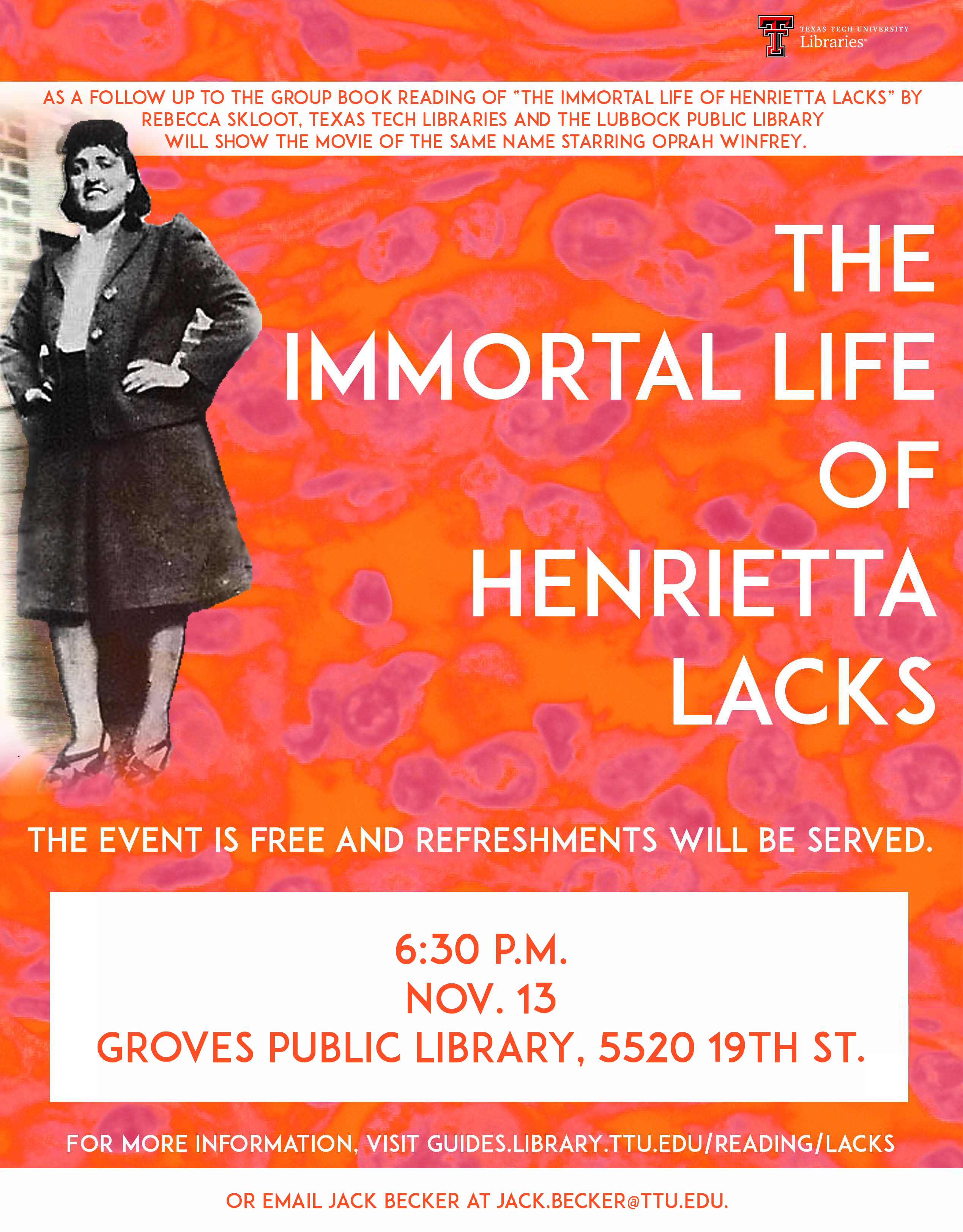 Henrietta Lacks movie screening on November 13