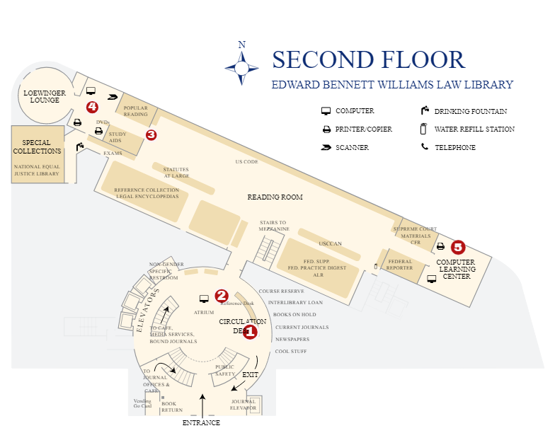 Map of Williams Law Library's second floor