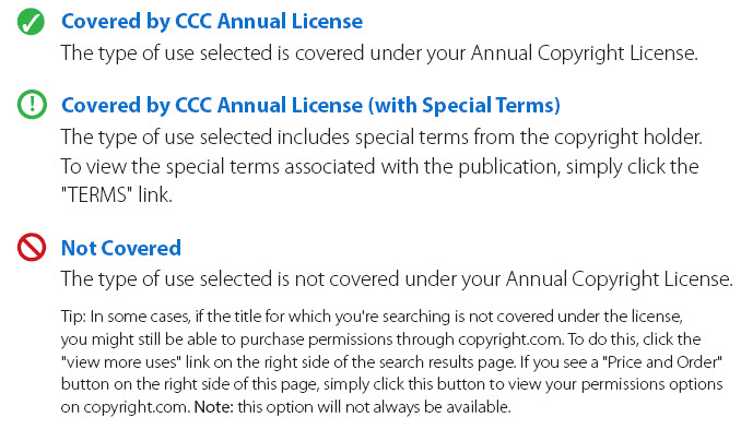 CCC RightFind codes
